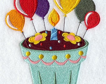 Blooming Birthday Cupcake Embroidered Flour Sack Hand/Dish Towel