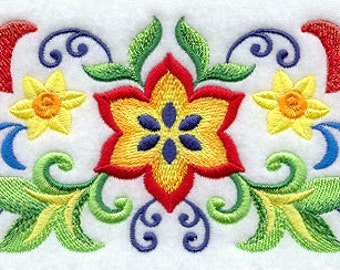Mejolica Floral Border Mexican Culture Embroidered Flour Sack Hand Towel