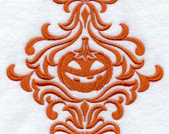 Damask Pumpkin Embroidered Flour Sack Hand/Dish Towel