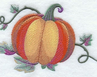 Watercolor Pumpkin Embroidered Flour Sack Hand/Dish Towel