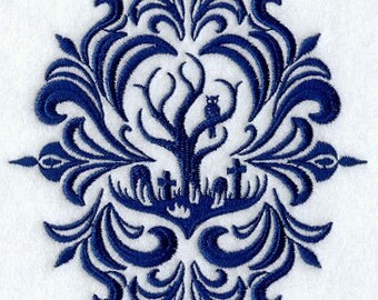 Damask Graveyard Haunted Tree Embroidered Flour Sack Hand/Dish Towel