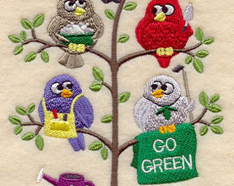 Go Green Save the Earth Tweeters Embroidered Flour Sack Hand/Dish Towel