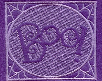BOO Embossed Square Embroidered Flour Sack Hand/Dish Towel
