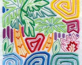 Mola Pixbae Embroidered Flour Sack Hand Towel