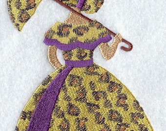 Umbrella Girl in Leopard Embroidered Flour Sack Hand/Dish Towel