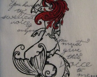 The Little Mermaid Embroidered Flour Sack Hand/Dish Towel