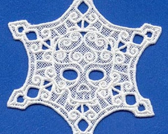 Lace Skullflake Embroidered Flour Sack Hand/Dish Towel
