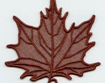 Elegant Lace Maple Leaves Embroidered Flour Sack Hand Towel