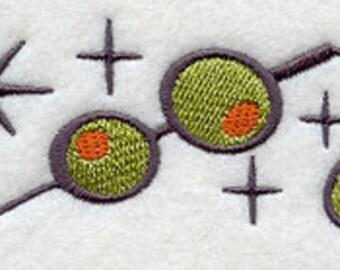 Martini Olives Border Embroidered Flour Sack Hand Towel