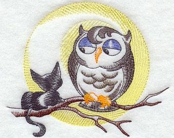 Baroque Owl Embroidered Flour Sack Hand/Dish Towel