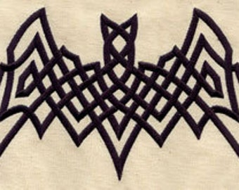 Celtic Tribal Bat Embroidered Flour Sack Hand/Dish Towel
