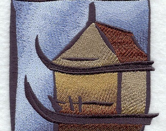 Asian Teahouse Embroidered Flour Sack Hand/Dish Towel