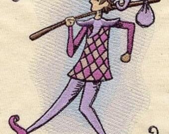 The Fool- Tarot Card Line Embroidered Flour Sack Hand/Dish Towel