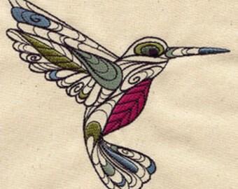 Doodle Hummingbird Embroidered Flour Sack Hand/Dish Towel