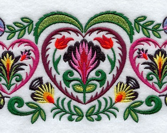 Wycinanki Heart Embroidered Flour Sack Hand/DIsh Towel