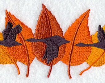 Geese Trio with Autumn Leaves Embroidered Flour Sack Hand/Dish Towel