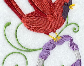 Crafty Cardinal with Embroidery Thread Embroidered Flour Sack Hand/Dish Towel