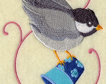 Crafty Chickadee with Thimble Embroidered Flour Sack Hand/Dish Towel