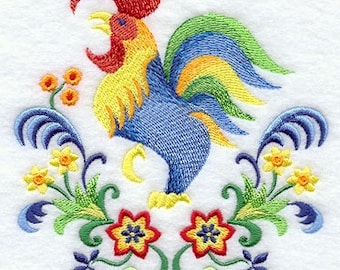 Majolica Rooster Embroidered Flour Sack Hand/Dish Towel