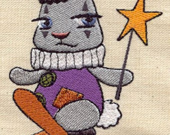 Circus Unicycle Bunny Embroidered Flour Sack Hand/Dish Towel