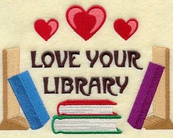 Love Your Library Embroidered Flour Sack Hand/Dish Towel