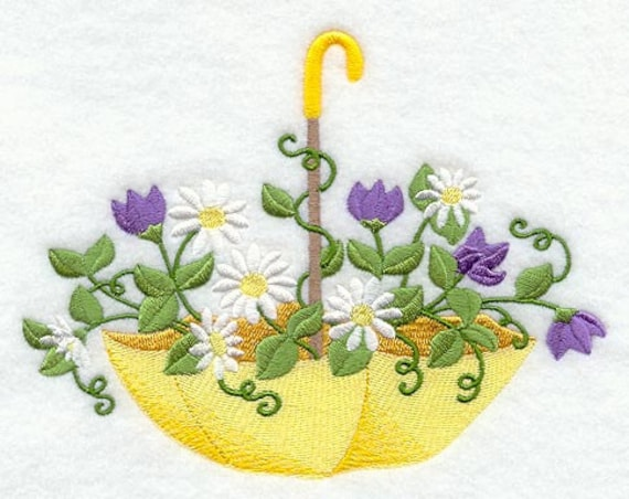 Under The Rain Umbrella With Flowers Embroidered Flour Sack