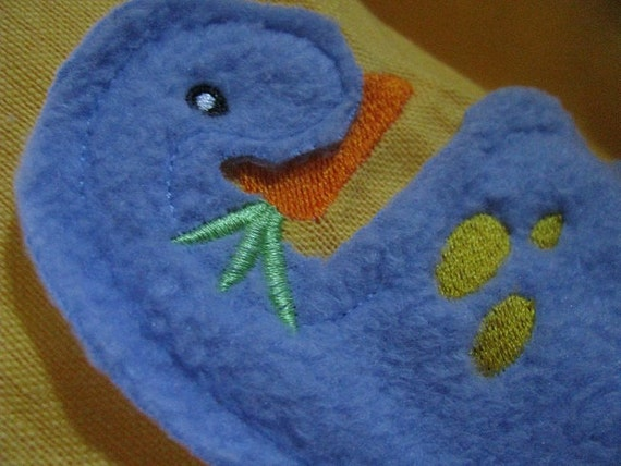 Veggiesaurus fleece applique embroidered flour sack hand dish