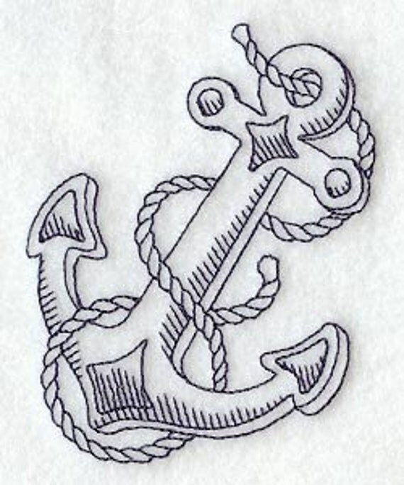 Anchor and Rope - Embroidered Flour Sack Hand/Dish Towel