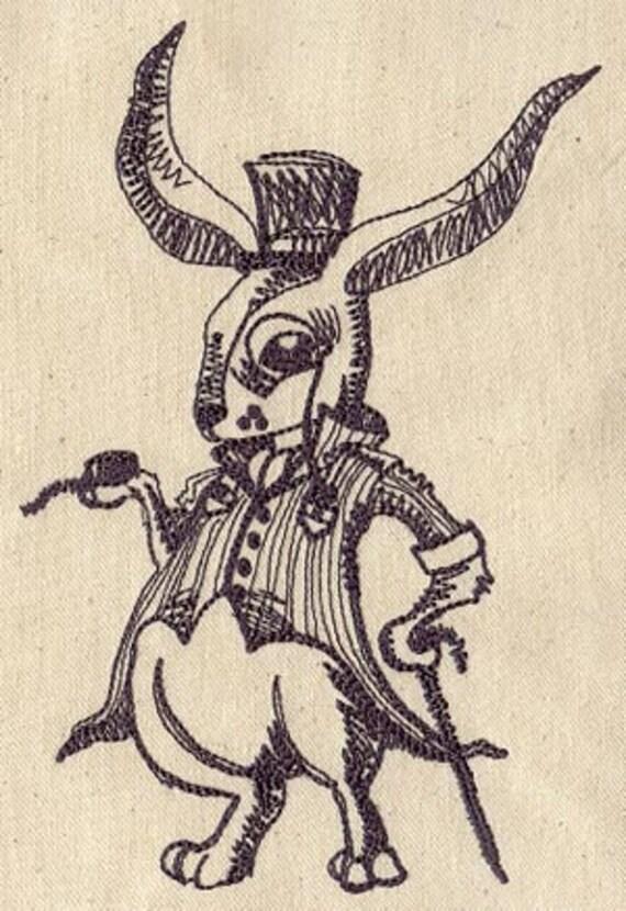 Fancy White Rabbit Alice in Wonderland Embroidered Flour Sack Hand/Dish Towel