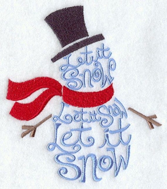 Let it Snow Snowman Embroidered Flour Sack Hand/Dish Towel