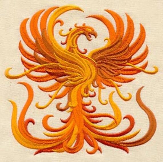 Damask Phoenix Rising Merlin Embroidered Flour Sack Hand Dish