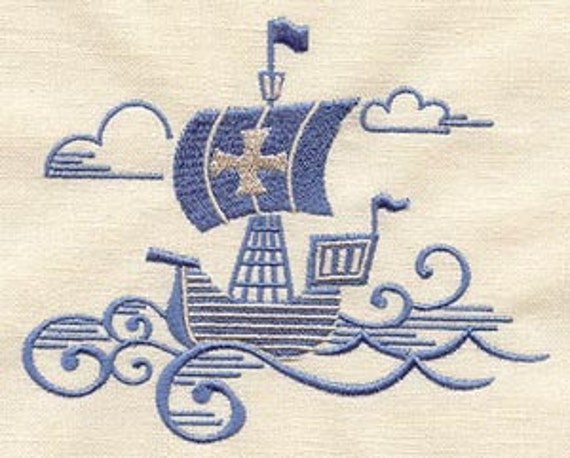 The Seven Seas Viking Boat Embroidered Flour Sack Hand Towel