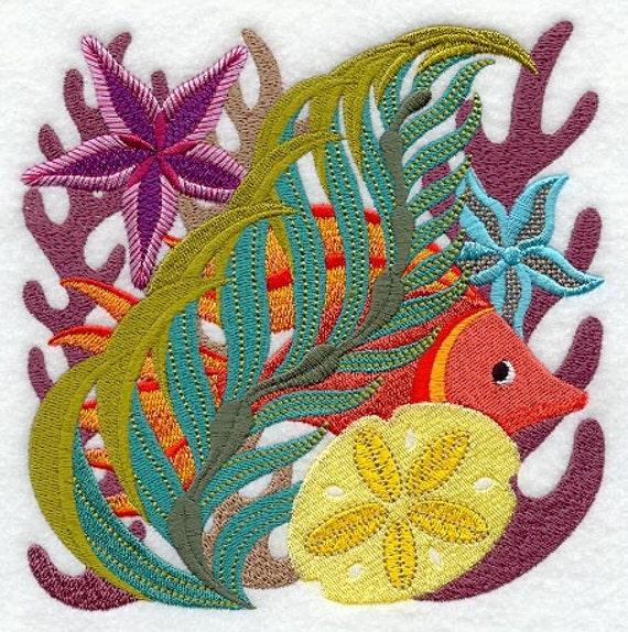 Jacobean Coral Reef Square Embroidered Flour Sack Hand/Dish Towel