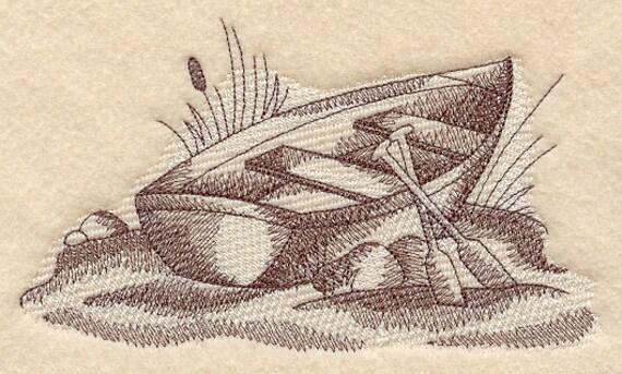 Rowboat Scene Embroidered Flour Sack Hand/Dish Towel