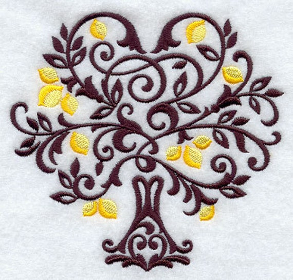 Damask Tree with Lemons Embroidered Flour Sack Hand/Dish Towel