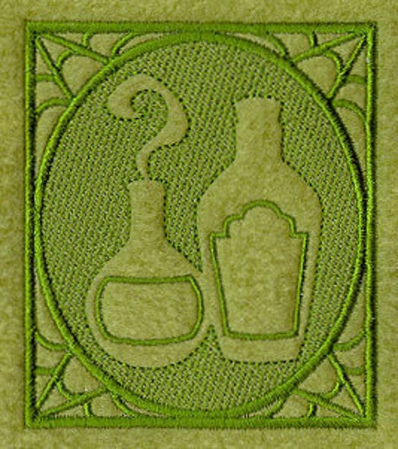 Embossed Potion Bottles Square Embroidered Flour Sack Hand Towel