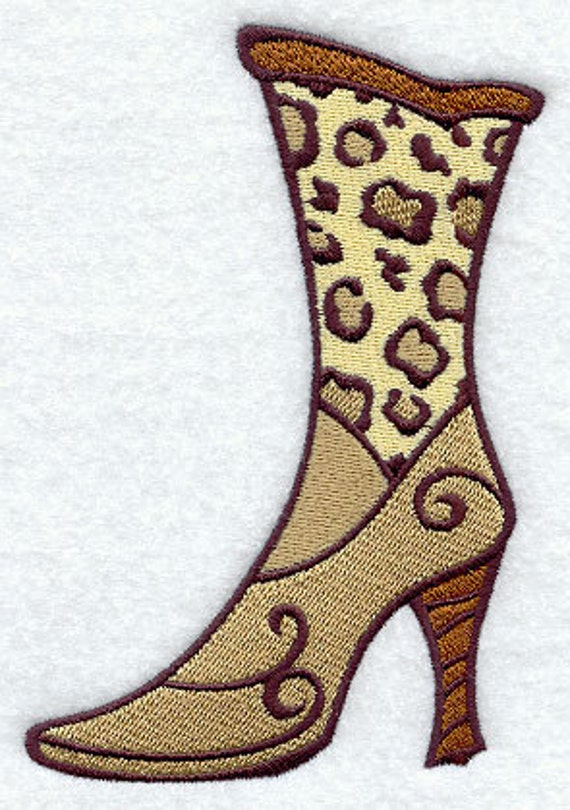 Feline Fashion Boot Embroidered Flour Sack Hand/Dish Towel