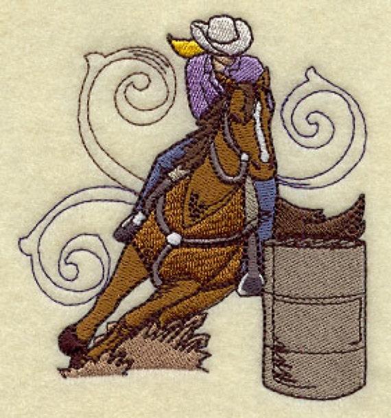 Cowgirl Barrel Race Spray Embroidered Flour Sack Hand/Dish Towel