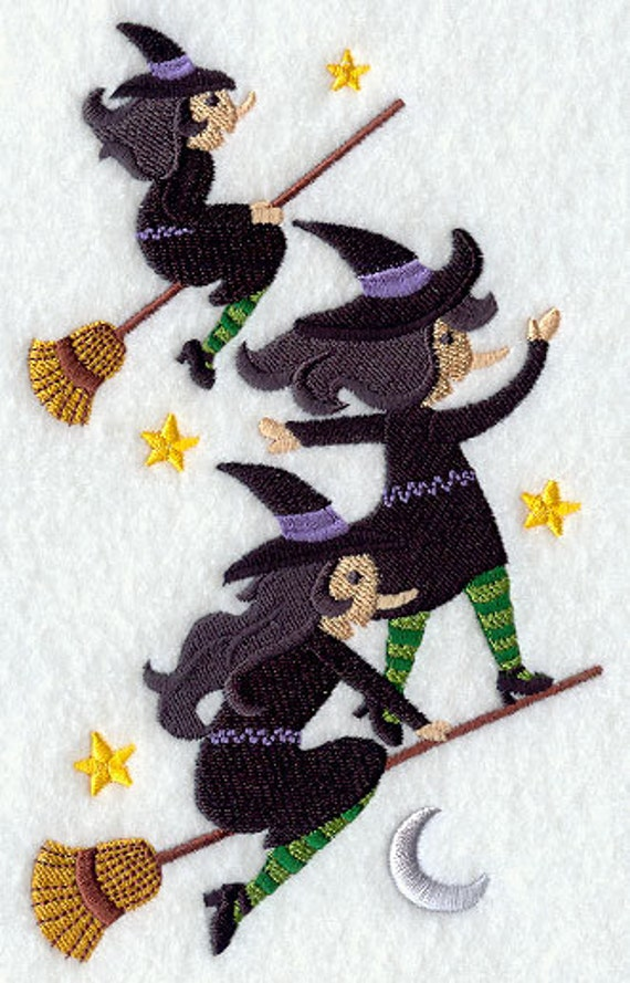WIld Witches Stack Embroidered Flour Sack Hand/Dish Towel
