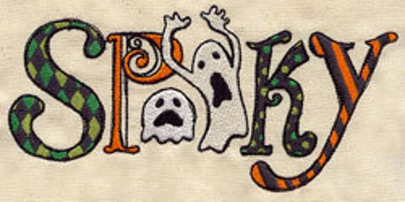 Spooky halloween letters embroidered flour sack hand dish for Spooky letter stencils