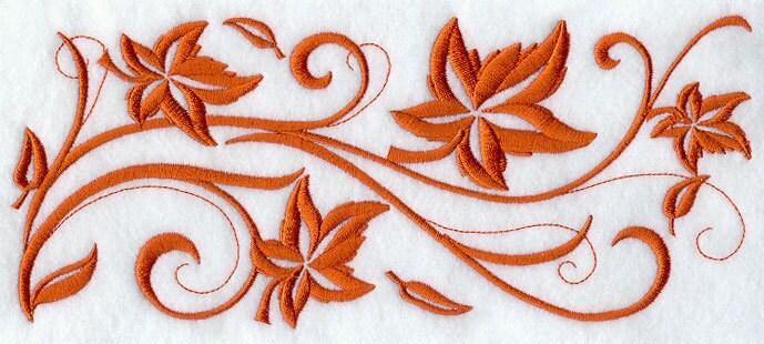 Twirling maple leaf border embroidered flour sack hand towel