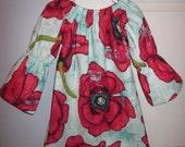 Boutique Big Red Poppy Flower Peasant Dress - Girls Peasant Dress - Girls Easter Dress 12 18 24 2T 3T 4T 5/6 7/8 Michael Miller Laura Gunn