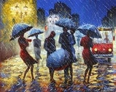CANVAS Print, GICLEE Print, CITYSCAPE Paintning ,Fine Art Print From, Original oil Paintning, Umbrellas,Rain, Romantic  16inX13in