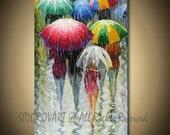 Painting Oil ORIGINAL contemporary fine art textured modern palette knife  UMBRELLAS  Series 18inX36in