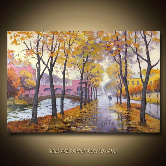 Painting Oil ORIGINAL contemporary fine art textured modern palette knife from FALL ALLEY  Series 24inX36in