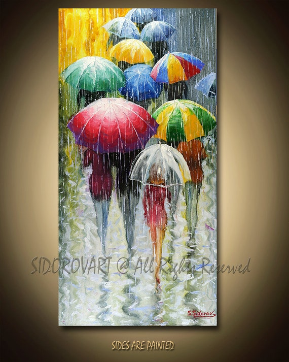 Painting Oil ORIGINAL contemporary fine art textured modern palette knife  UMBRELLAS  Series 18inX36in