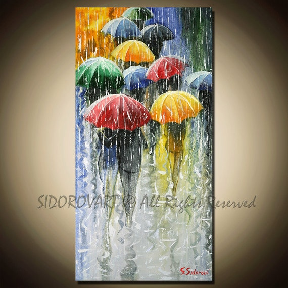 Painting Oil ORIGINAL contemporary fine art textured modern palette knife  UMBRELLAS  Series 14inX28in
