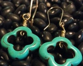 Turquoise Clover earrings - gold filled dangle