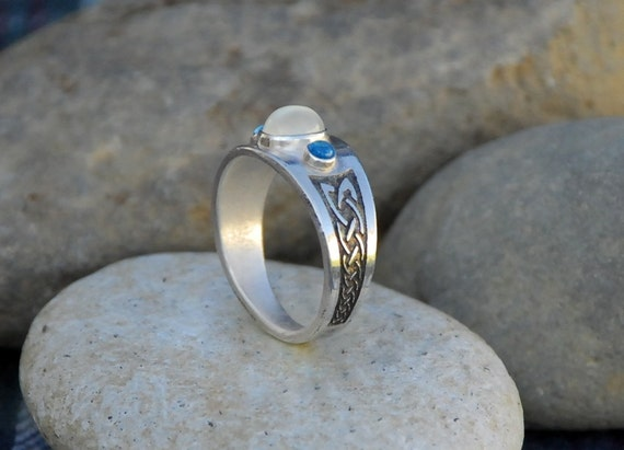 Celtic Ring Rainbow Moonstone Sterling Sliver by ...
