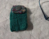 Hand Knitted teal IPod Cover Digital camera case
